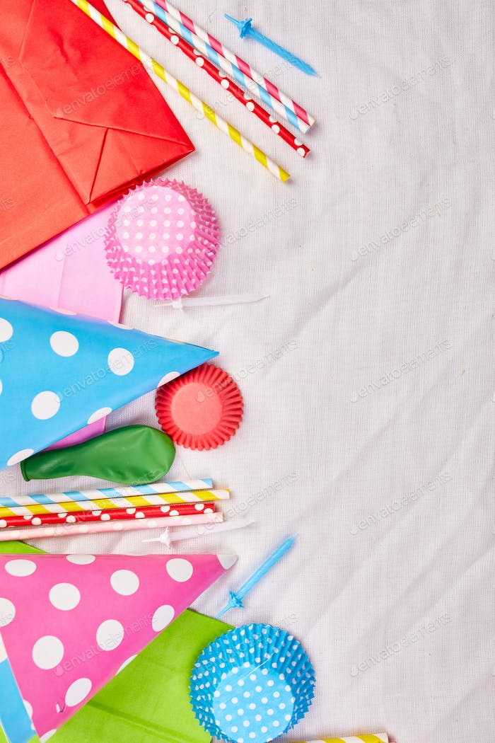 Birthday or party greeting card, colorful festival items, party.