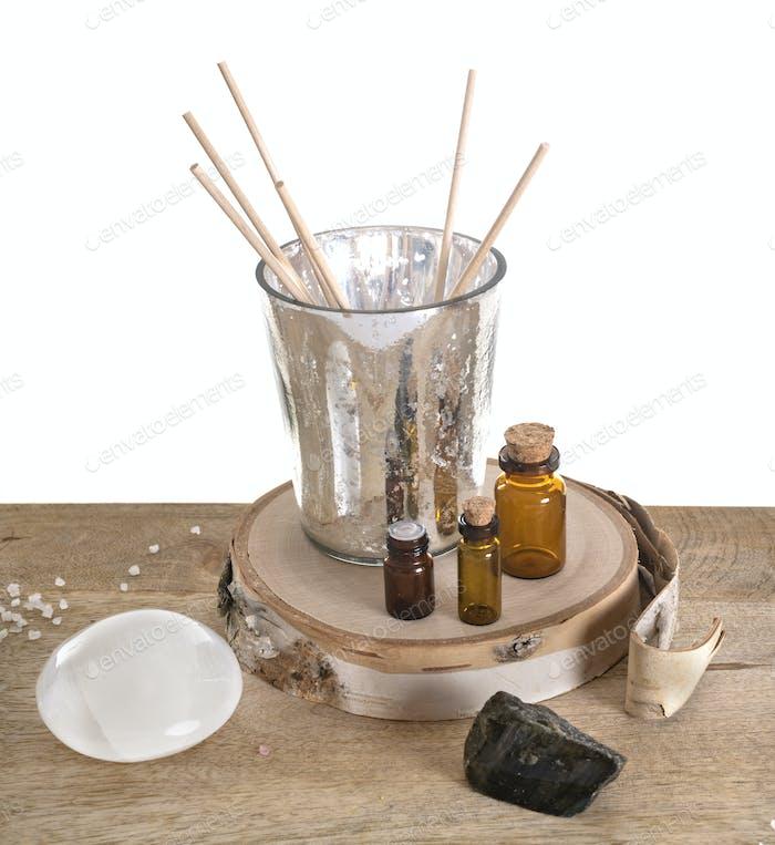 incense and selenite