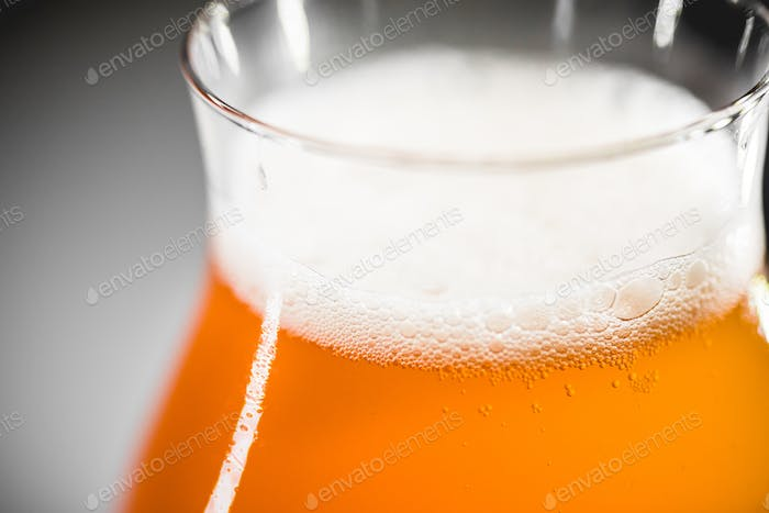 Close-up glass of rhubarb beer