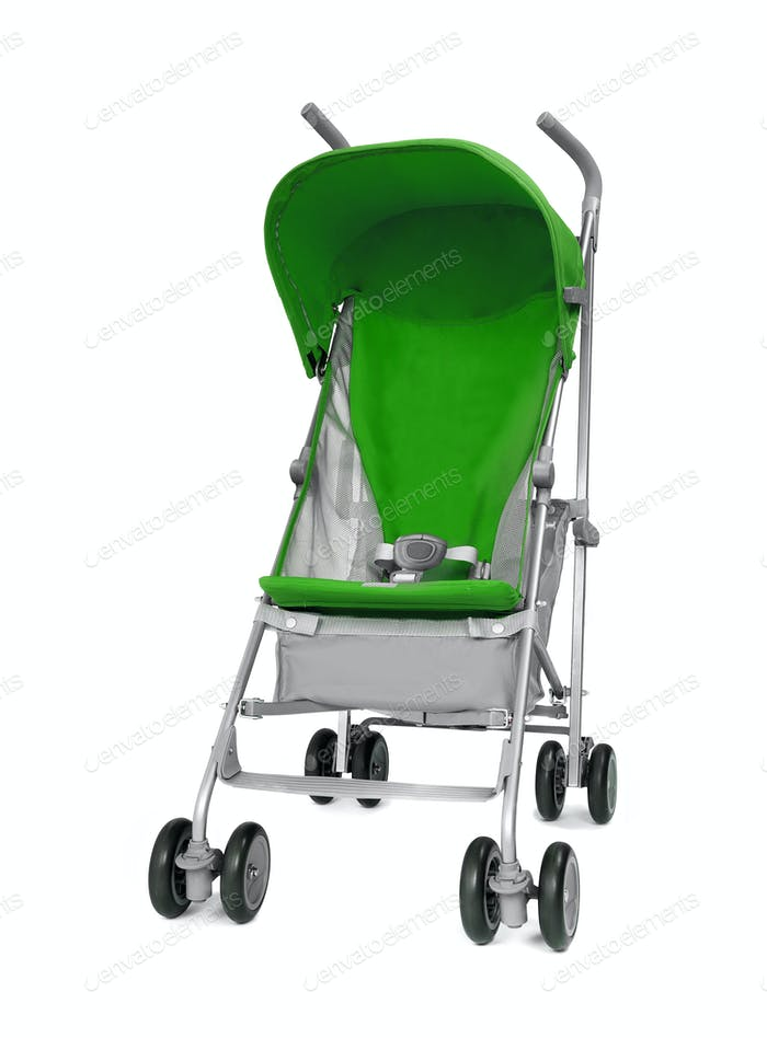 green baby carriage