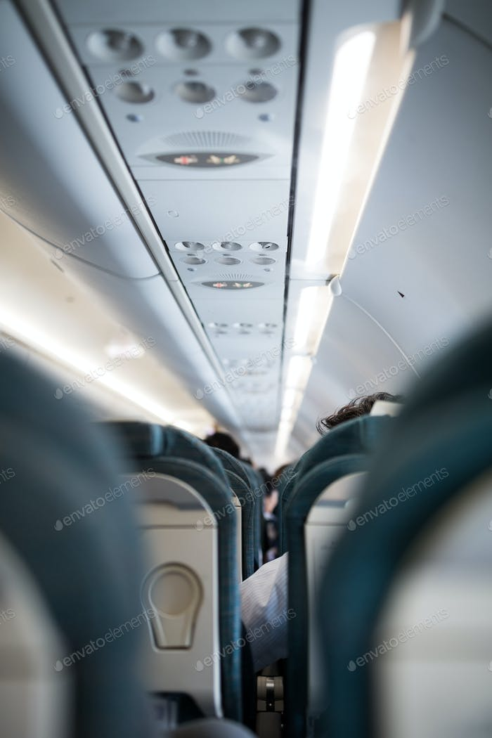 Interior of passenger airplane