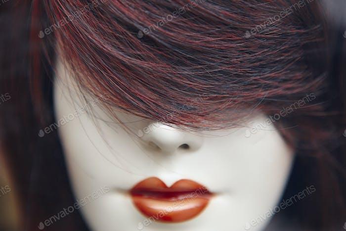 Female dummy head detail. Artificial woman. Imitation of life. Horizontal