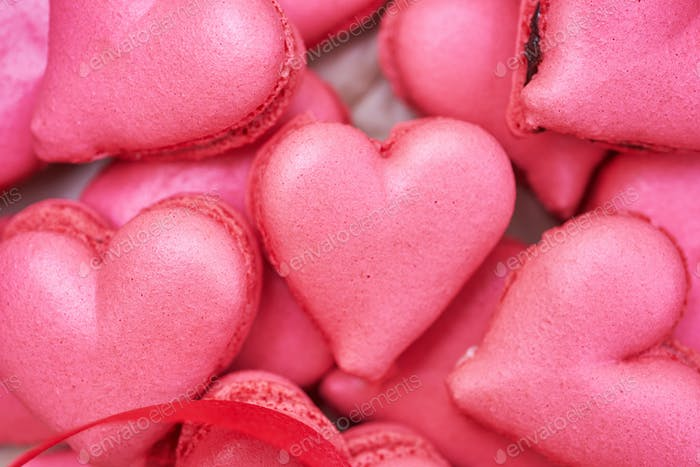 heart-shaped macaroons.