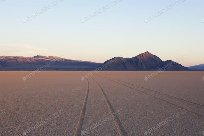 Tyre marks and tracks in the playa salt pan surface of Black Rock Desert, Nevada.