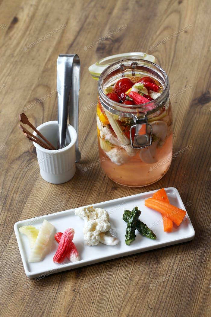 homemade pickles; celery, radish, cauliflower, cucumber and carrot