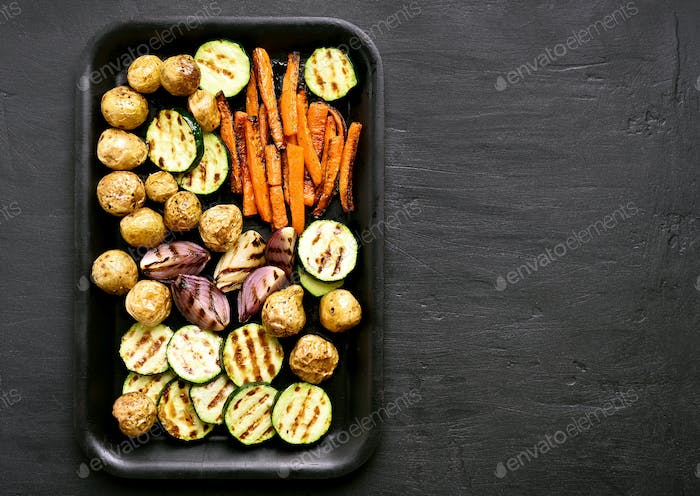 Roasted vegetables, top view