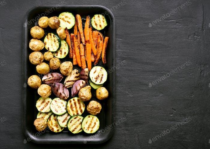 Gebratenes Gemüse, Draufsicht