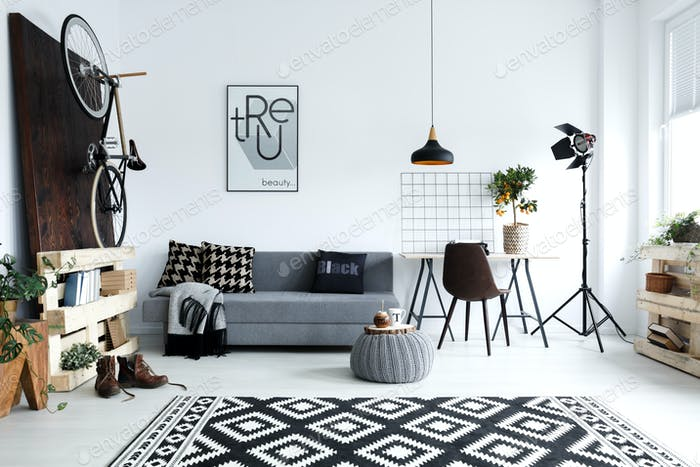 White living room with sofa