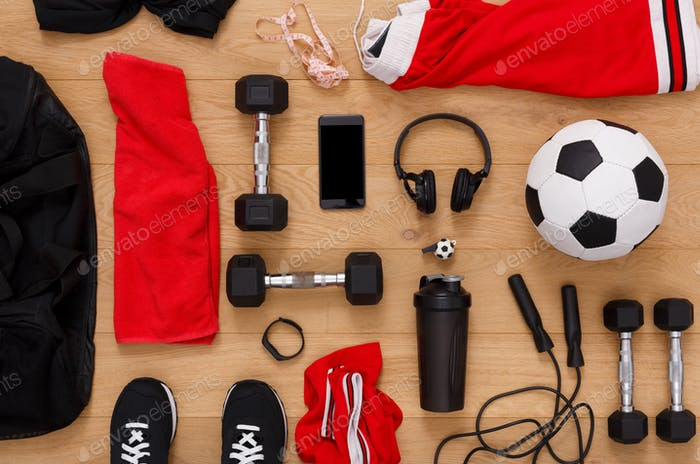 Тренировки, футбол и спортивный инвентарь фон