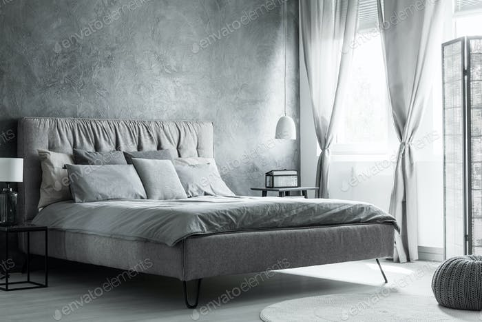 Gray and white bedroom interior