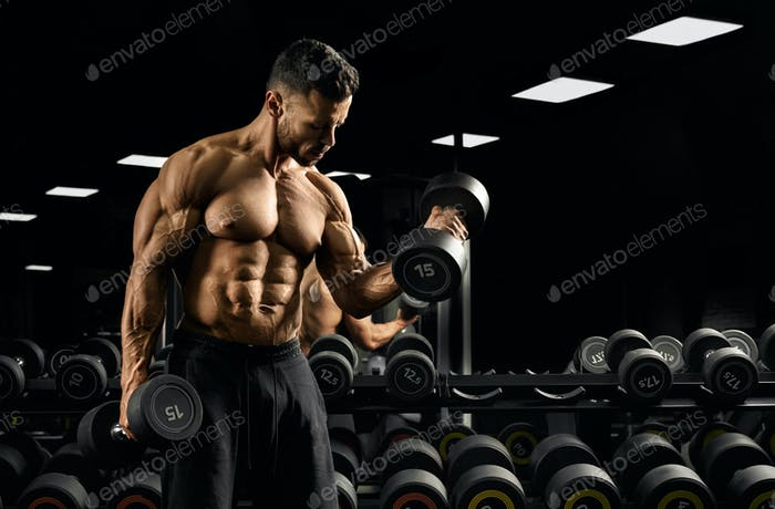 Sportsman building biceps with dumbbell