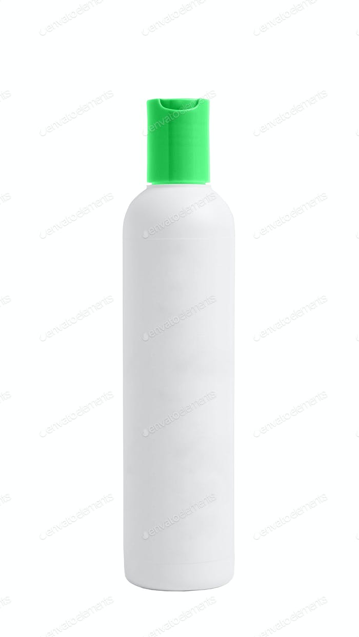 White plastic bottle isolated on white background