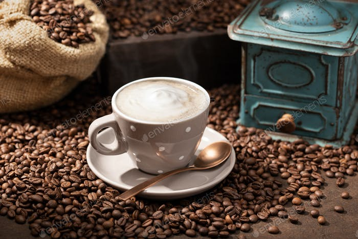 Hot coffee cup cappuccino or latte