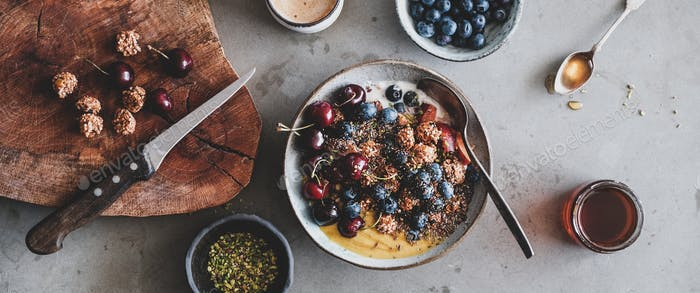 Quinoa oat granola with seeds and fruits and coffee