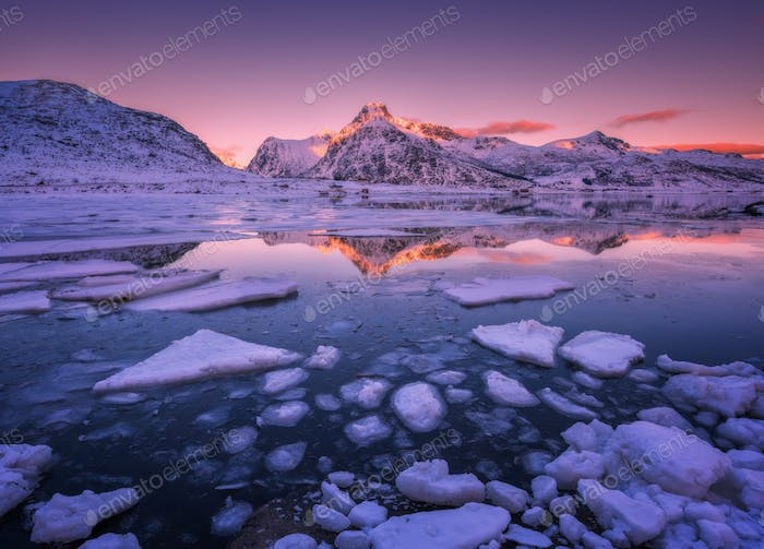 Floating ice in the sea against snowy mountains and pink sky