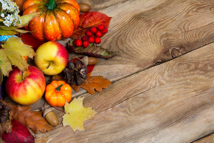 Pumpkins, apples, berries, pine cones, acorn and leaves