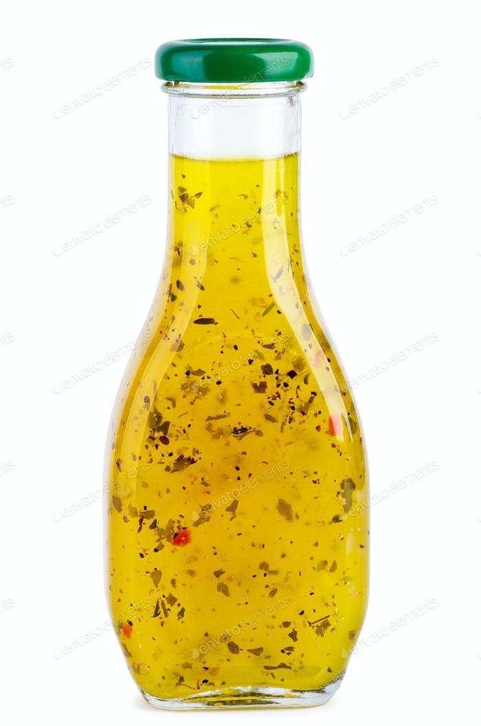 Glasflasche mit italienischer Sauce