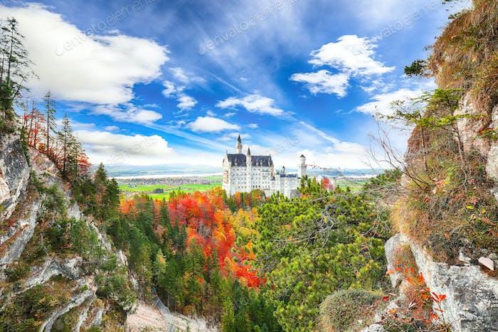 Picturesque view of famous Neuschwanstein Castle in autumn