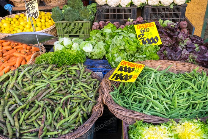Vegetables and salad for sale at a market