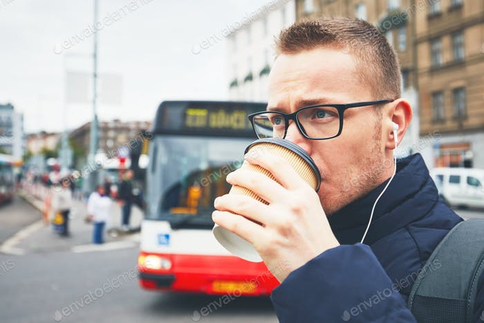 Morning coffee on the city street