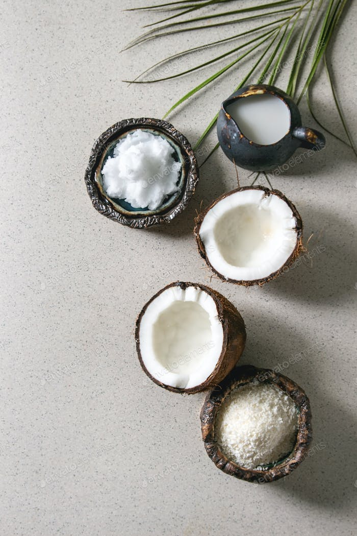 Variety of coconut products