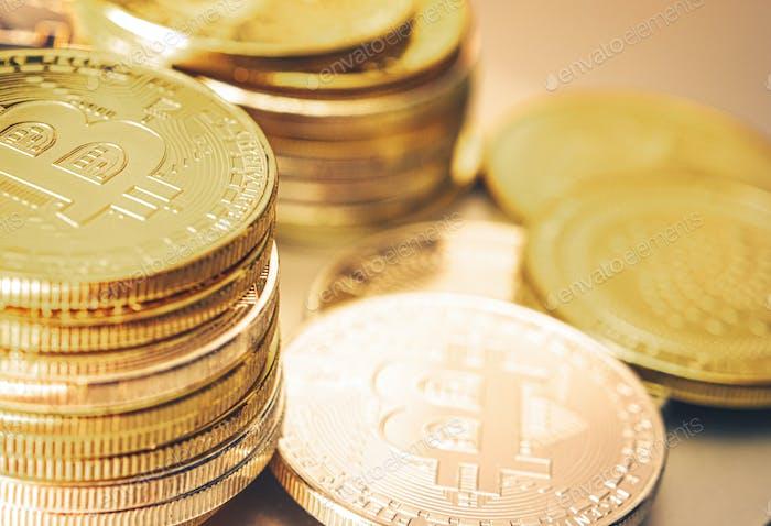Pile of Golden Bitcoin Coins Close Up