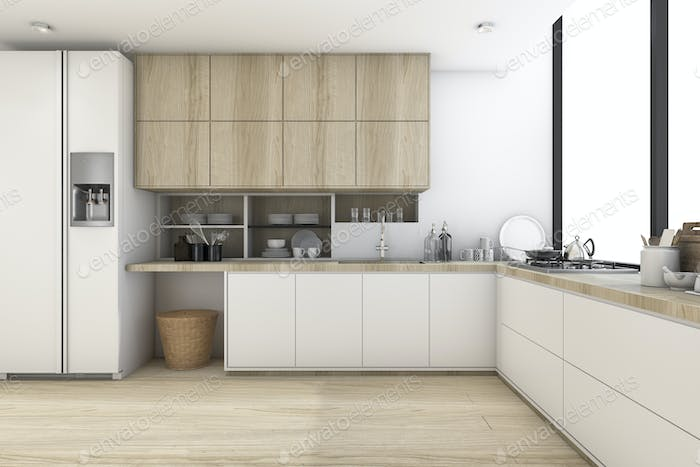 3d rendering scandinavian kitchen with white wood design