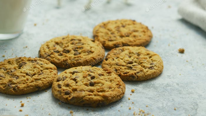 Chocolate chip cookies in closeup