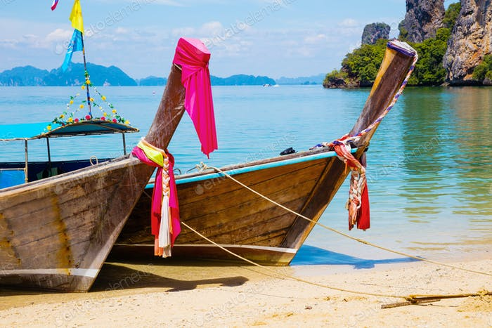 Traditional Thai Longtail Boats Moored At Aonang Beach