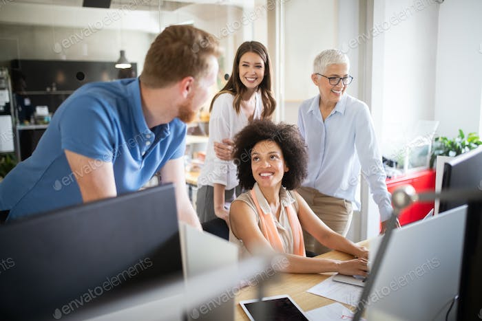 Business people good teamwork in office. Teamwork successful meeting workplace concept