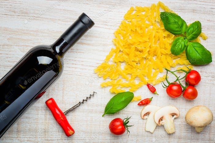 Iatalian Cuisine Fusilli Pasta and Red Wine