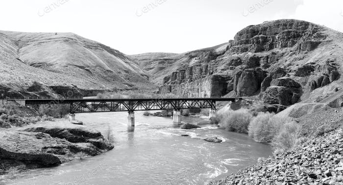 Deep Gorge Deschutes River Railroad Bridge Wild Scenic Corridor