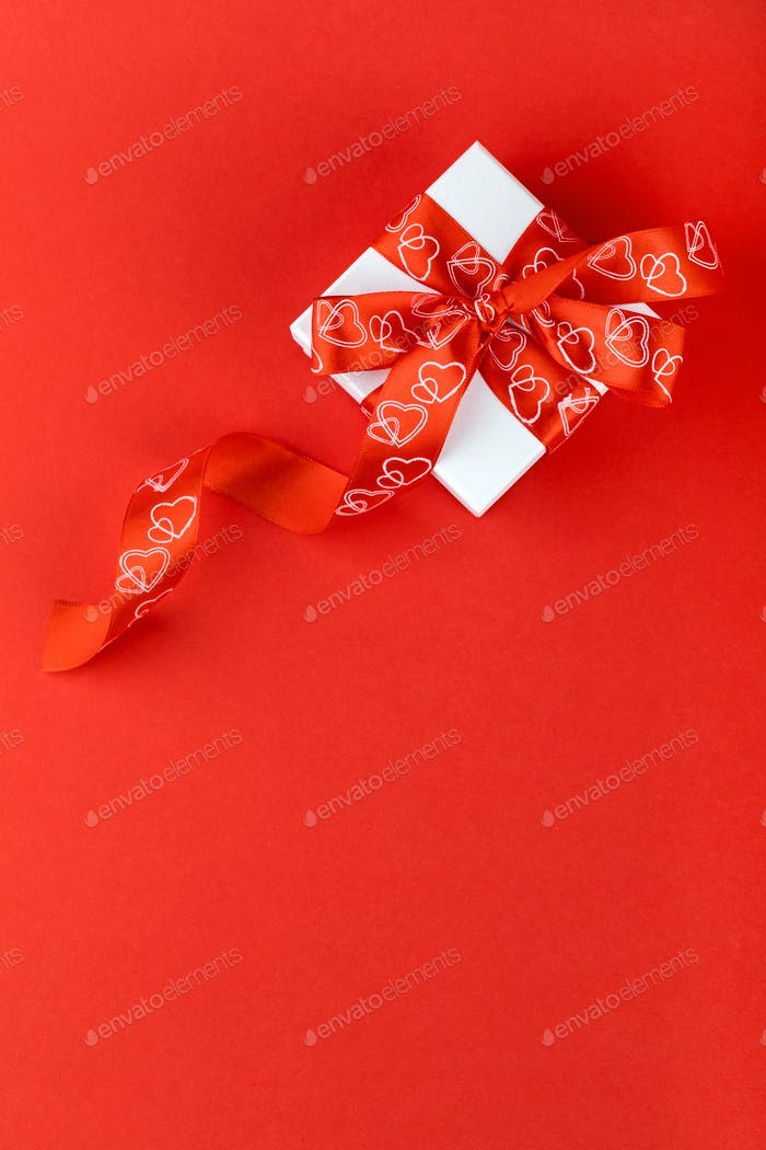 White Gift Box Bow Red Background Valentine's Day Present