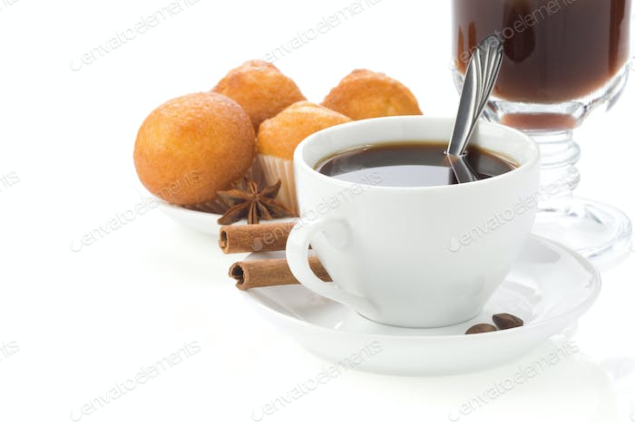 cup of coffee with beans isolated on white