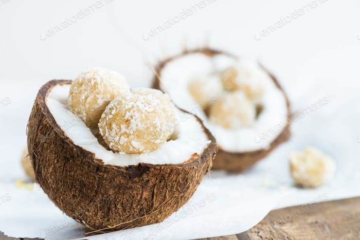 Raw Vegan Coconut and Lemon Truffles in the Coconut Shel