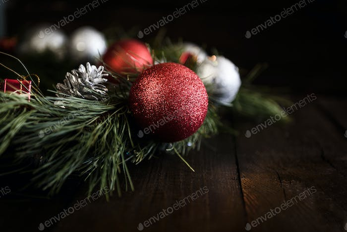 Christmas wreath of fir branches with Christmas decorations