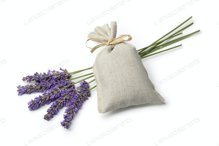 Sack with dried lavender flowers