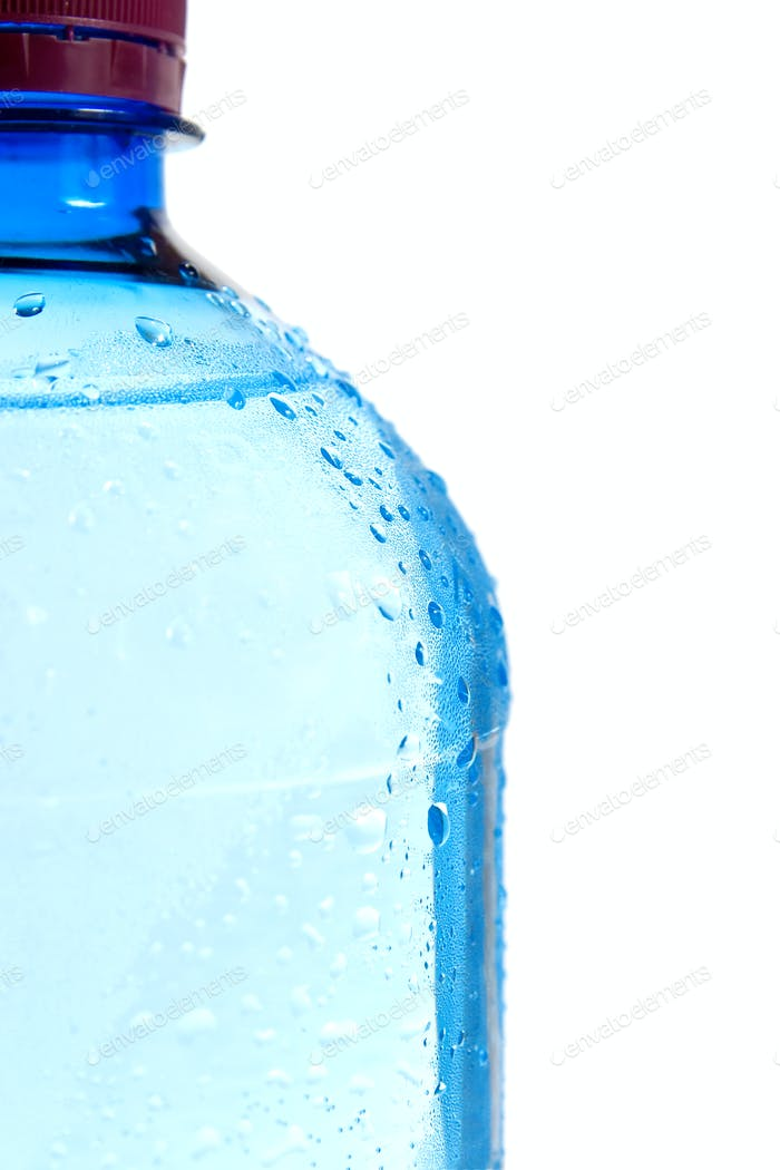 Droplets on the bottle. Isolated on white background.