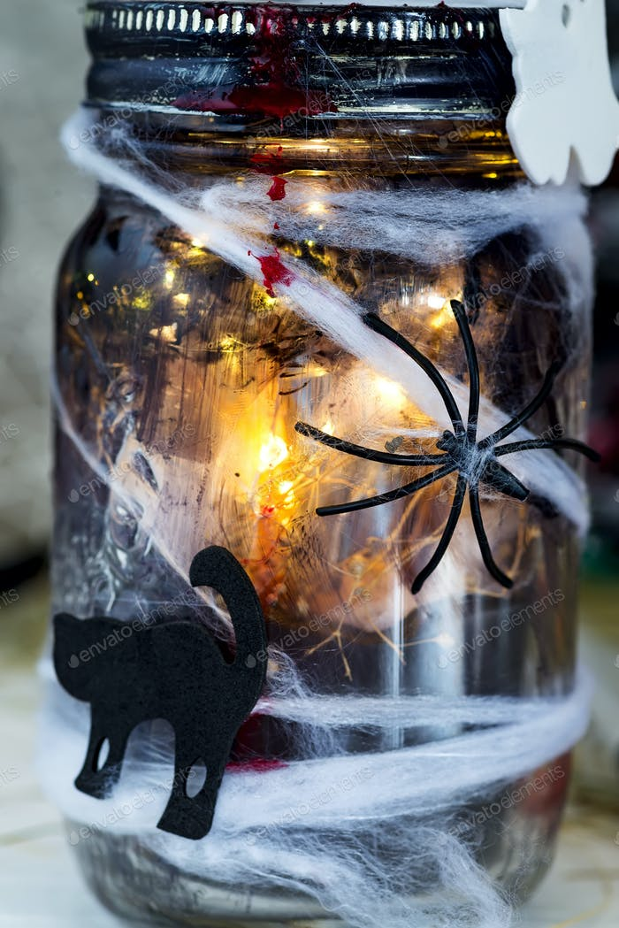 Dark glowing jar with spider and cat against grey background.