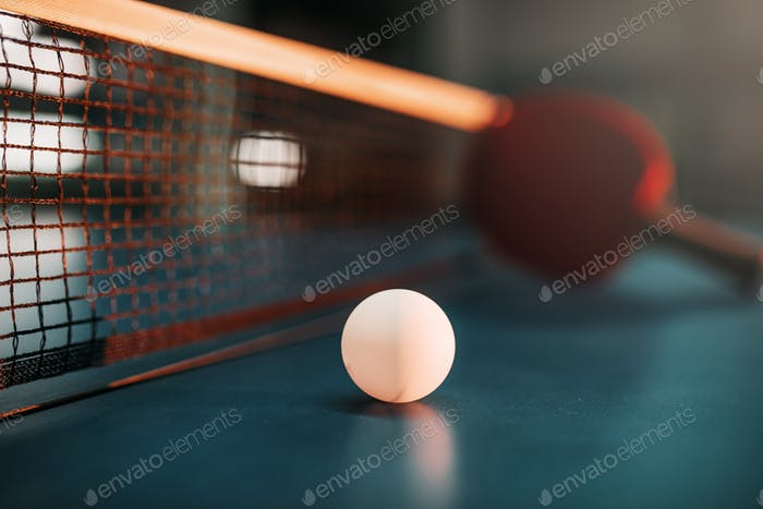 Ping pong ball on the table, selective focus