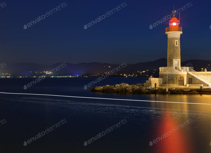 Lighthouse at dusk in Saint-Tropez, France