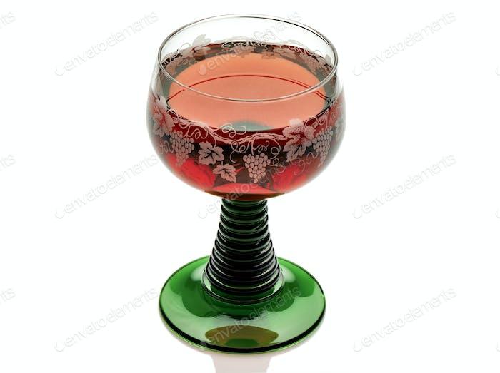 Beautiful glass of pink wine