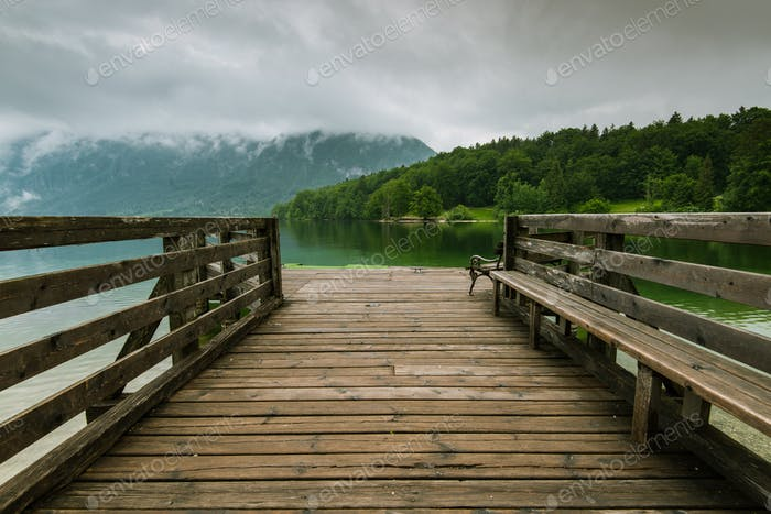 Wooden pier leading into Bohinj Lake, Slovenia