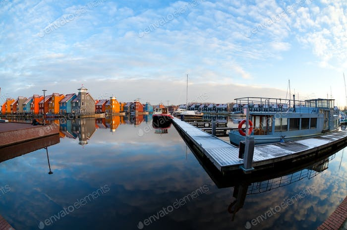 boats and colorful buildings at Reitdiephaven, Groningen