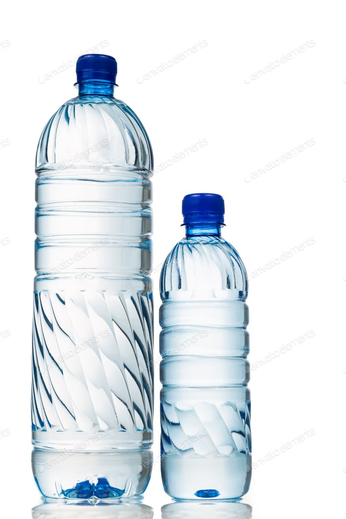 Big and small mineral water in plastic bottle white background