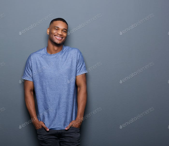 Young african american man smiling