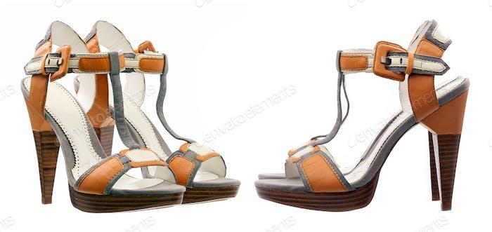 Sommer Frauen Schuhe über weiß, Seiten- und Dreiviertel-Ansichten