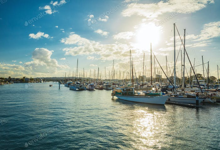 Sunset in yacht marina, Maroochydore, Queensland, Australia