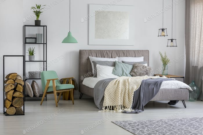 Bedroom with gray and green decorations