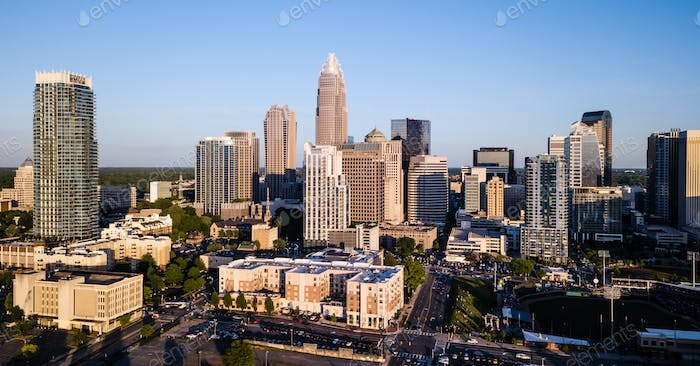 Aerial View of the Downtown City Skyline of Charlotte North Carolina